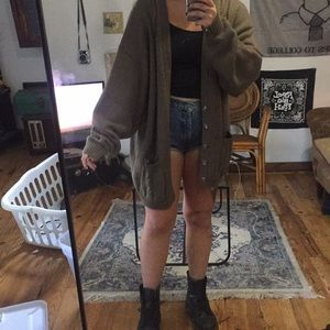 Oversized knit taupe cardigan
